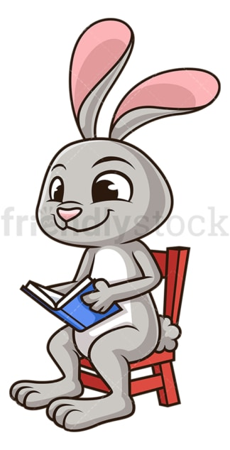 Rabbit reading book. PNG - JPG and vector EPS (infinitely scalable).