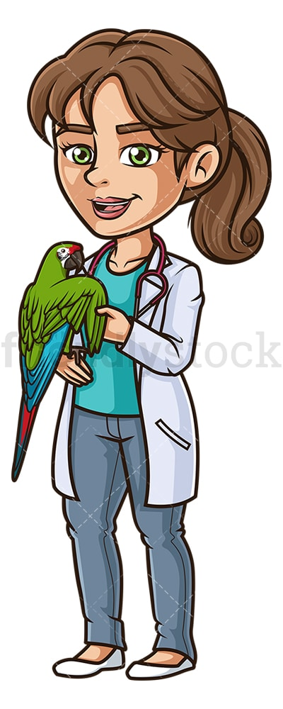 Female veterinarian examining parrot. PNG - JPG and vector EPS (infinitely scalable).