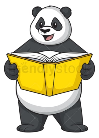 Panda reading book. PNG - JPG and vector EPS (infinitely scalable).