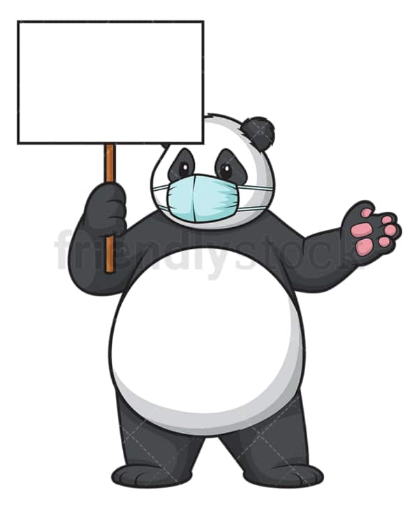 Panda with face mask. PNG - JPG and vector EPS (infinitely scalable).