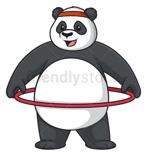 Panda working out with hula hoop. PNG - JPG and vector EPS (infinitely scalable).