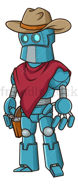 Robot cowboy. PNG - JPG and vector EPS file formats (infinitely scalable). Image isolated on transparent background.