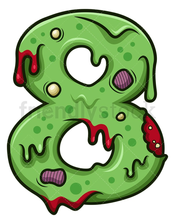 Zombie number 8. PNG - JPG and vector EPS file formats (infinitely scalable). Image isolated on transparent background.