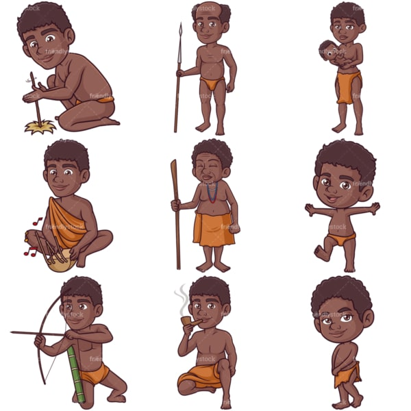 African bushmen. PNG - JPG and infinitely scalable vector EPS - on white or transparent background.
