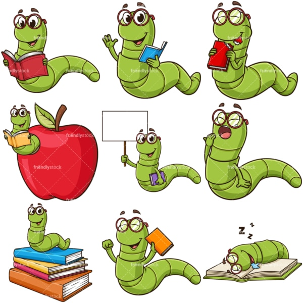 Cute bookworm. PNG - JPG and infinitely scalable vector EPS - on white or transparent background.