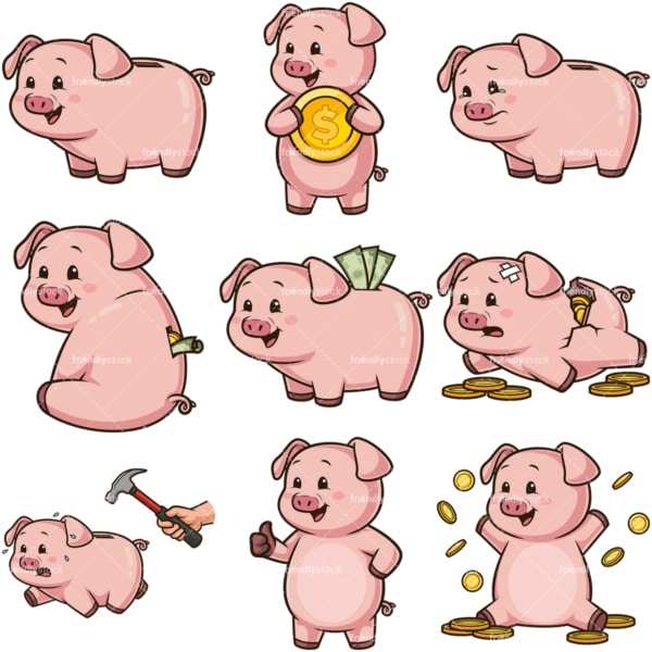 Piggy bank cartoon character. PNG - JPG and infinitely scalable vector EPS - on white or transparent background.