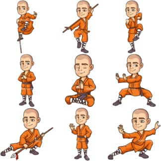 Shaolin monk. PNG - JPG and infinitely scalable vector EPS - on white or transparent background.