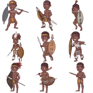 Zulu warriors. PNG - JPG and infinitely scalable vector EPS - on white or transparent background.