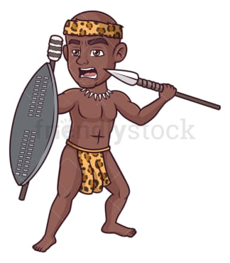 Fierce zulu warrior. PNG - JPG and vector EPS (infinitely scalable).