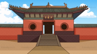 Shaolin monastery background in 16:9 aspect ratio. PNG - JPG and vector EPS file formats (infinitely scalable).