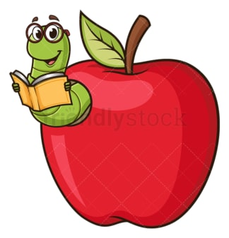 Bookworm coming out of apple. PNG - JPG and vector EPS (infinitely scalable).