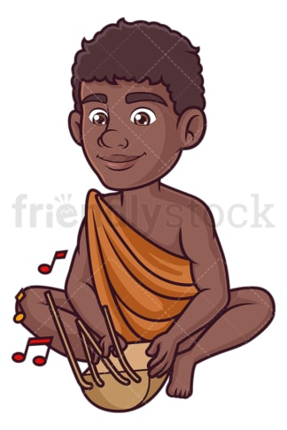 Bushman playing musical instrument. PNG - JPG and vector EPS (infinitely scalable).
