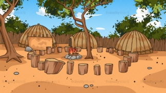 Zulu village background in 16:9 aspect ratio. PNG - JPG and vector EPS file formats (infinitely scalable).