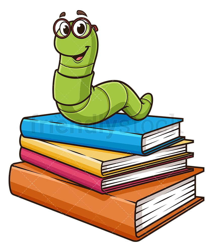Bookworm On Books Cartoon Clipart Vector Friendlystock