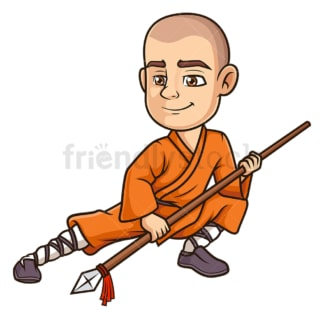 Shaolin monk using spear. PNG - JPG and vector EPS (infinitely scalable).