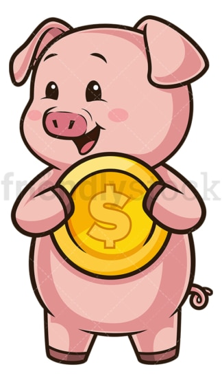 Piggy bank holding money. PNG - JPG and vector EPS (infinitely scalable).