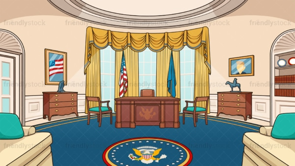 The oval office background in 16:9 aspect ratio. PNG - JPG and vector EPS file formats (infinitely scalable).