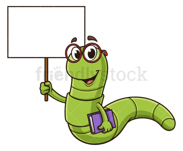 Bookworm holding blank sign. PNG - JPG and vector EPS (infinitely scalable).