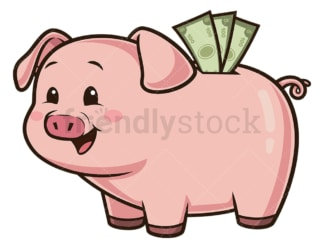 Piggy bank saving money. PNG - JPG and vector EPS (infinitely scalable).