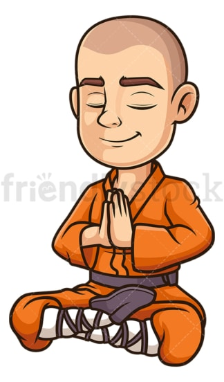 Shaolin monk meditating. PNG - JPG and vector EPS (infinitely scalable).