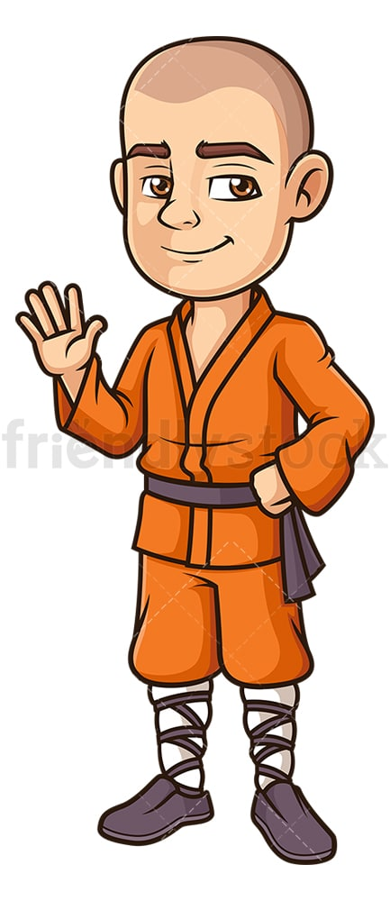 Friendly shaolin monk waving. PNG - JPG and vector EPS (infinitely scalable).