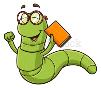 Happy bookworm. PNG - JPG and vector EPS (infinitely scalable).