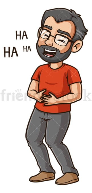 Middle-Aged man laughing. PNG - JPG and vector EPS (infinitely scalable).