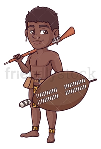 Zulu warrior with musket. PNG - JPG and vector EPS (infinitely scalable).