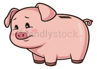 Sad piggy bank. PNG - JPG and vector EPS (infinitely scalable).