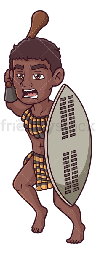 Zulu warrior charging. PNG - JPG and vector EPS (infinitely scalable).