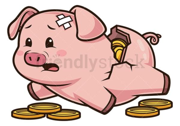 Broken piggy bank. PNG - JPG and vector EPS (infinitely scalable).