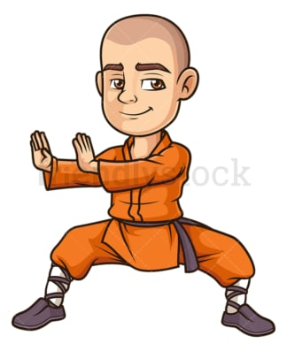 Shaolin monk practicing. PNG - JPG and vector EPS (infinitely scalable).