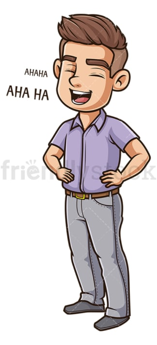 Young guy laughing. PNG - JPG and vector EPS (infinitely scalable).