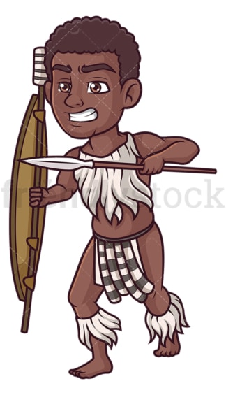 Zulu warrior attacking. PNG - JPG and vector EPS (infinitely scalable).