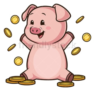 Piggy bank throwing coins up in the air. PNG - JPG and vector EPS (infinitely scalable).