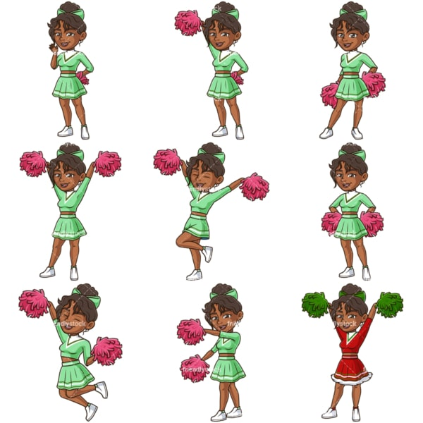 Black female cheerleader. PNG - JPG and infinitely scalable vector EPS - on white or transparent background.