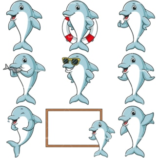 Blue dolphin character. PNG - JPG and infinitely scalable vector EPS - on white or transparent background.