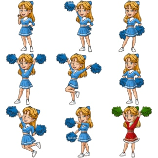 Caucasian female cheerleader. PNG - JPG and infinitely scalable vector EPS - on white or transparent background.
