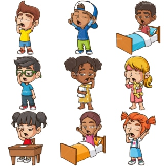 Children yawning. PNG - JPG and infinitely scalable vector EPS - on white or transparent background.