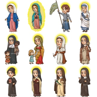 Female christian saints. PNG - JPG and vector EPS file formats (infinitely scalable). Images isolated on transparent background.