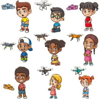 Kids flying drones. PNG - JPG and infinitely scalable vector EPS - on white or transparent background.