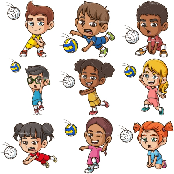 Kids playing volleyball. PNG - JPG and infinitely scalable vector EPS - on white or transparent background.