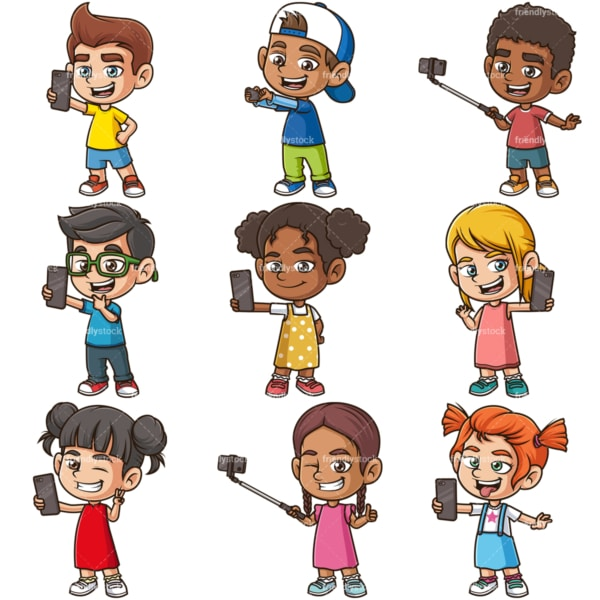 Kids taking selfies. PNG - JPG and infinitely scalable vector EPS - on white or transparent background.