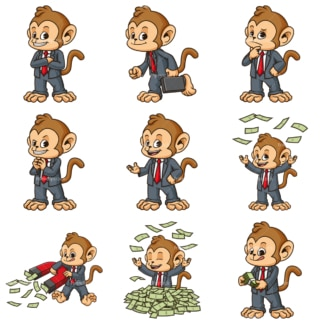 Monkey businessman. PNG - JPG and infinitely scalable vector EPS - on white or transparent background.