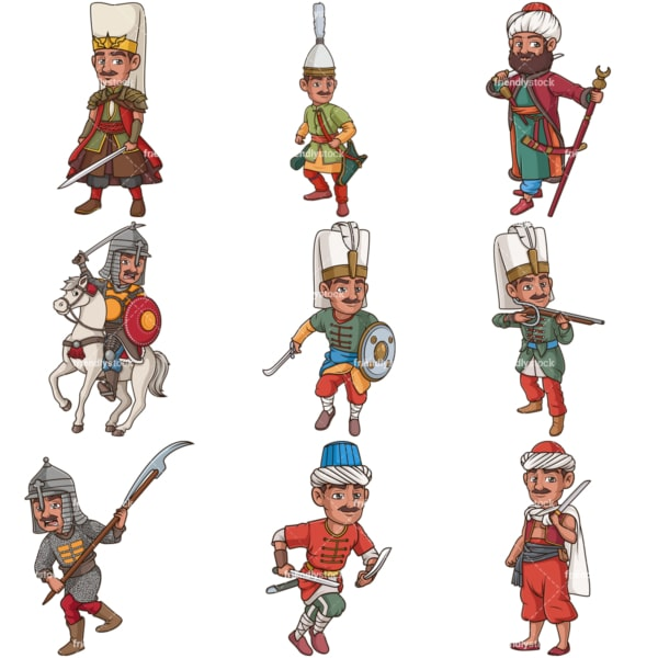Ottoman empire warriors. PNG - JPG and infinitely scalable vector EPS - on white or transparent background.