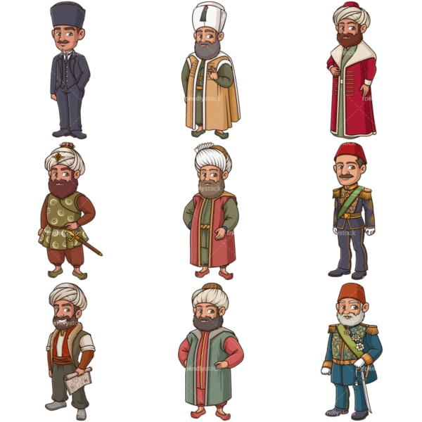 Ottoman historical figures. PNG - JPG and infinitely scalable vector EPS - on white or transparent background.