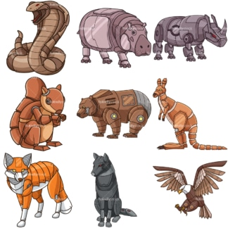 Robot animals. PNG - JPG and infinitely scalable vector EPS - on white or transparent background.