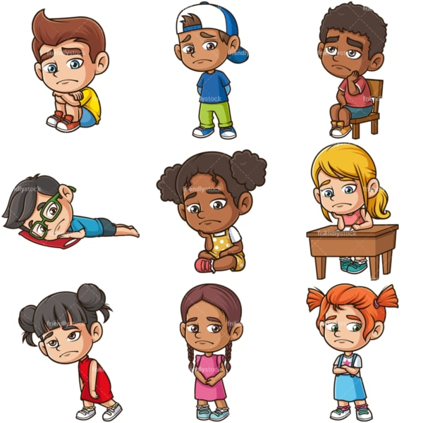 Sad kids. PNG - JPG and infinitely scalable vector EPS - on white or transparent background.
