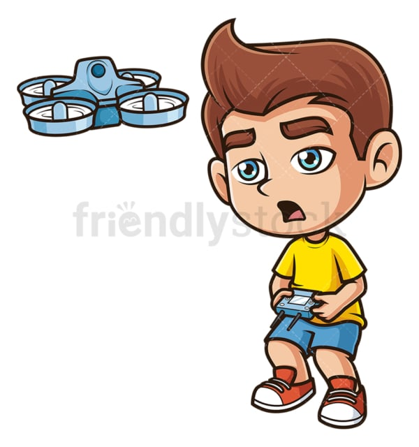 Caucasian boy flying drone. PNG - JPG and vector EPS (infinitely scalable).