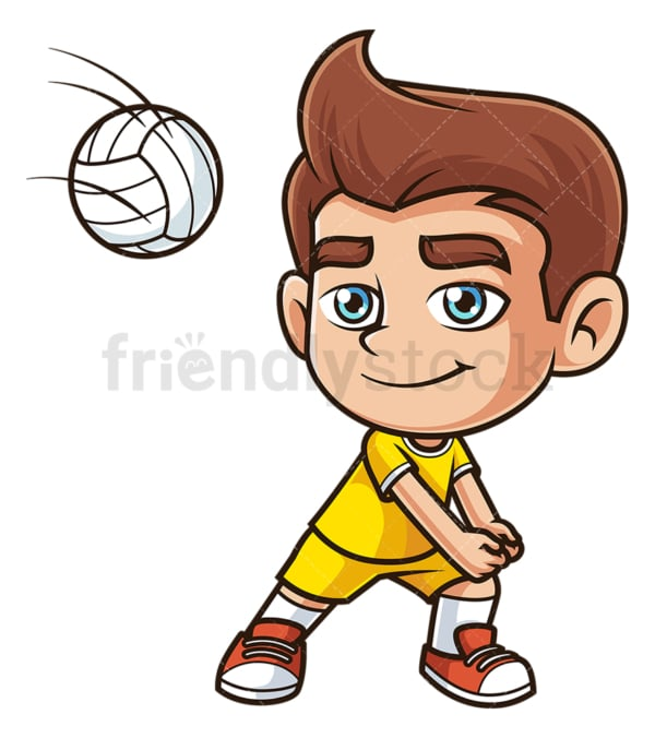 Caucasian boy playing volleyball. PNG - JPG and vector EPS (infinitely scalable).